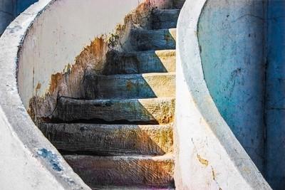 Curved Stairway Spanish Adobe
