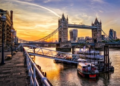 Tower Bridge as the sun goes down in London.