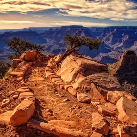 The South Kaibab trail heading into the Grand Canyon on the South rim side.  It is late afternoon and we're anxiously awaiting the Sunset, k...
