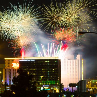 4th of July fireworks from the Plaza Hotel on the Old Strip.