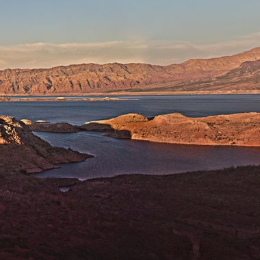 Long exposure of Lake Mead at sunset.