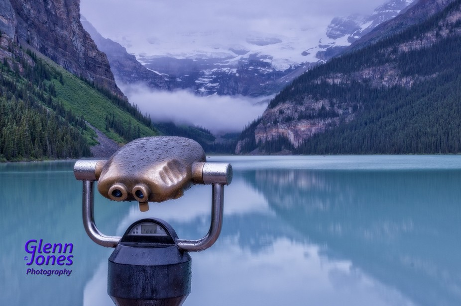 At Lake Louise, Alberta for an early morning sunrise shot, unfortunately rain and low cloud preva...