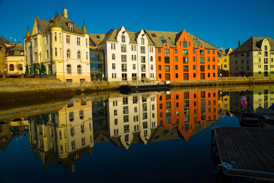 One of the many beautiful mornings in Aalesund, Norway
