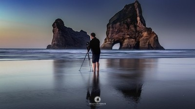 Photographing Wharariki beach