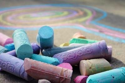 Pile of street chalk