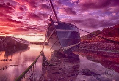 HDR sunset boat