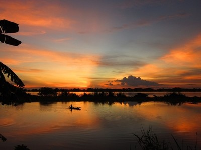Picture 1629 The Mekong in Flood at Sunset
