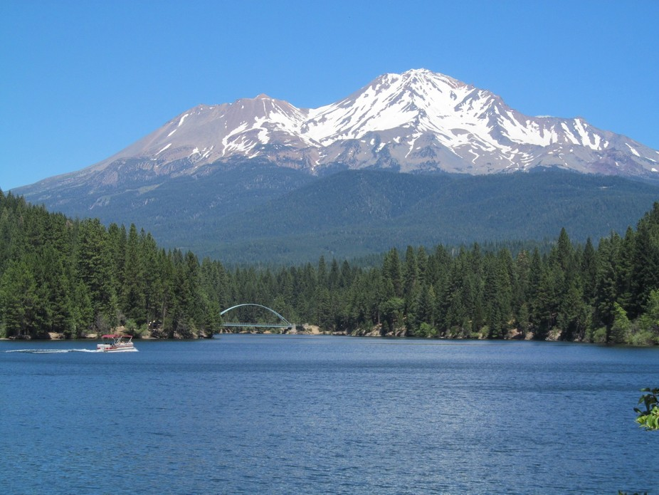 Mt. Shasta from lake Siskiyou in mid July...