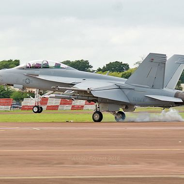 United Staes Navy F18 Super Hornet landing at RIAT 2016