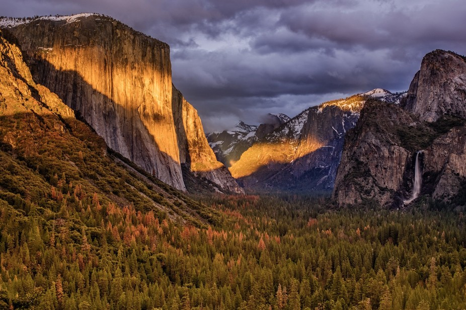 Yosemite valley at sunset, with a break in the clouds