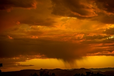 Rain Curtain and Sunsetet Clouds