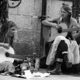 These two were busking at Tempe Bar, Ireland. I took several with different settings before settling on this one.