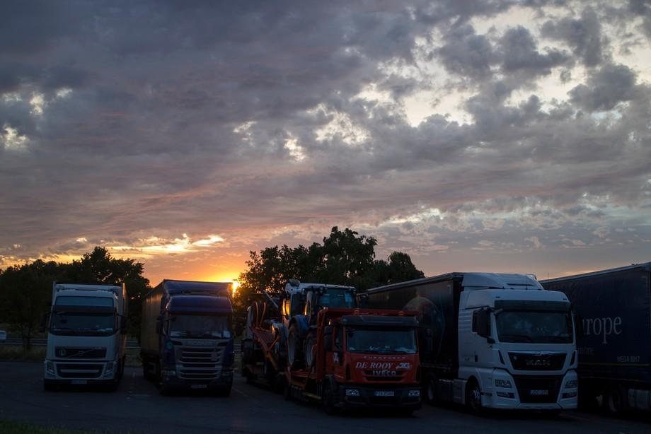 Sunset at France at a parking