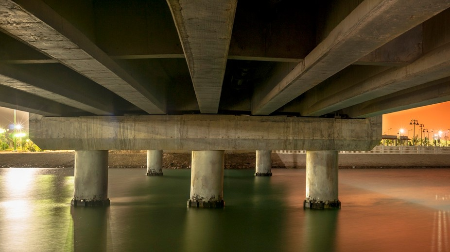 Panorama shot under a bridge.