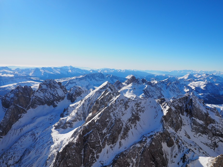 View from the highest summit in Dolomites