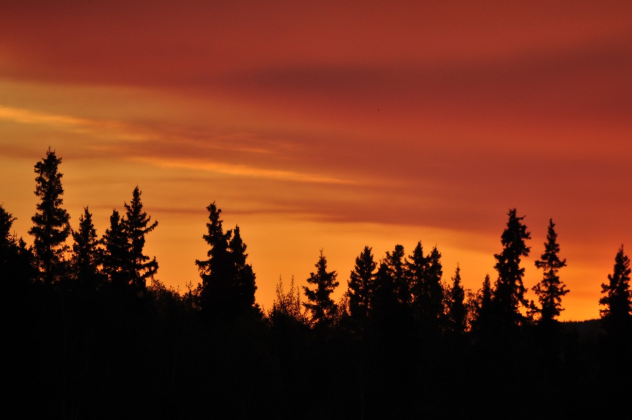 Sunset, near midnight, in Fairbanks, Alaska