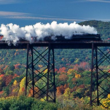 Serendipity is alive and well! Ventured out to photograph the fall foliage and happened upon the steam locomotive traversing the viaduct, which only occurs two times per year!