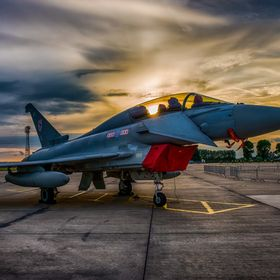 eurofighter, typhoon, fighter, jet, aircraft, plane, military, aviation, sunset, sun, set