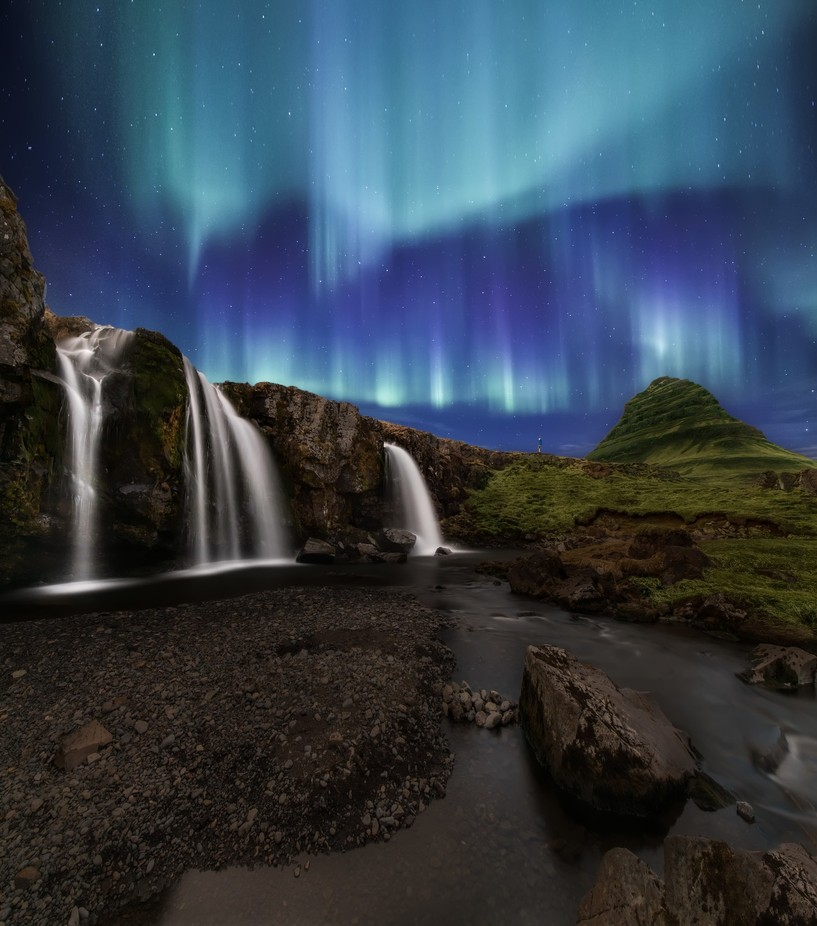 Northern Lights at Kirkjufellsfoss Waterfalls Iceland by larrymarshall - Night Wonders Photo Contest