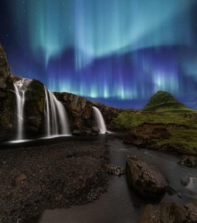 Northern Lights at Kirkjufellsfoss Waterfalls Iceland