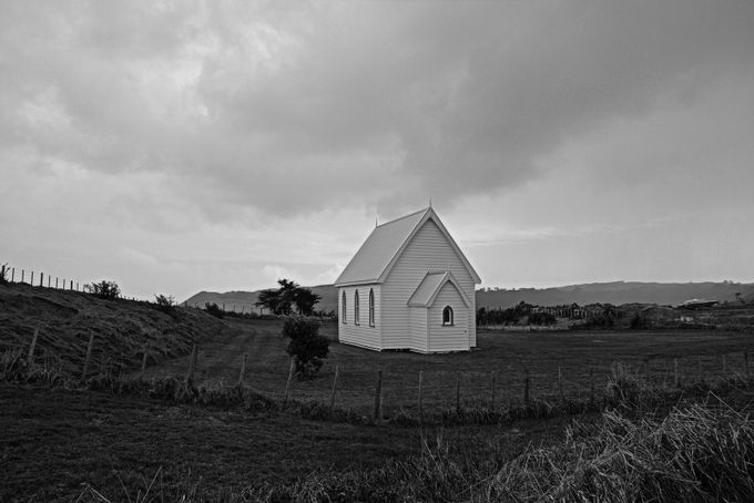 Small Church in Kohekohe New Zealand by ChristinaFreak - Black And White Architecture Photo Contest