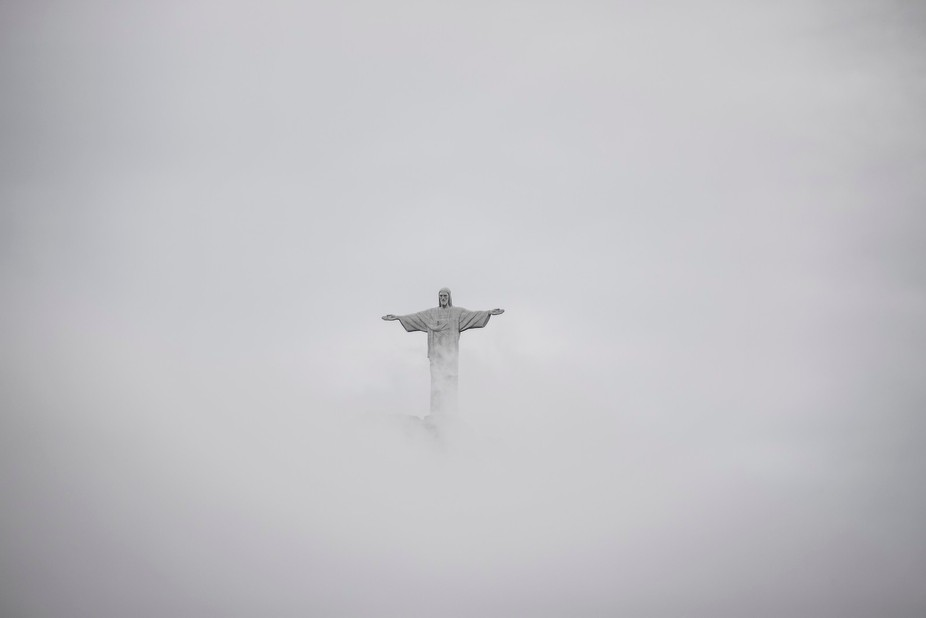Dense fog and clouds surround Christ the Redeemer in Rio.