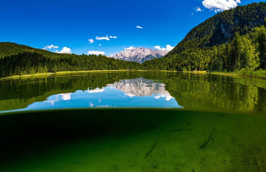 Lake Ferchensee outside of Mittenwald in Bavaria, Germany.