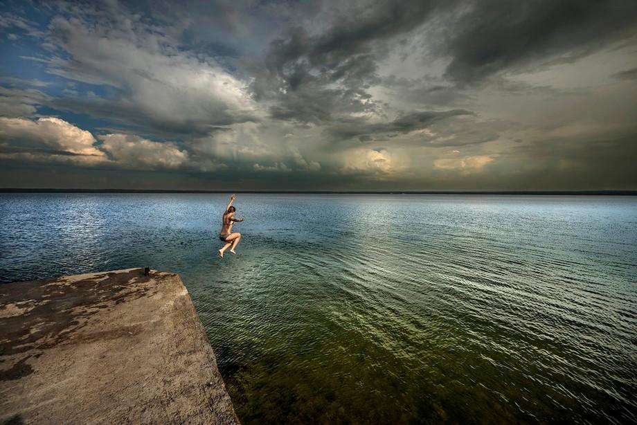 Estonia. A dip in the Baltic sea.