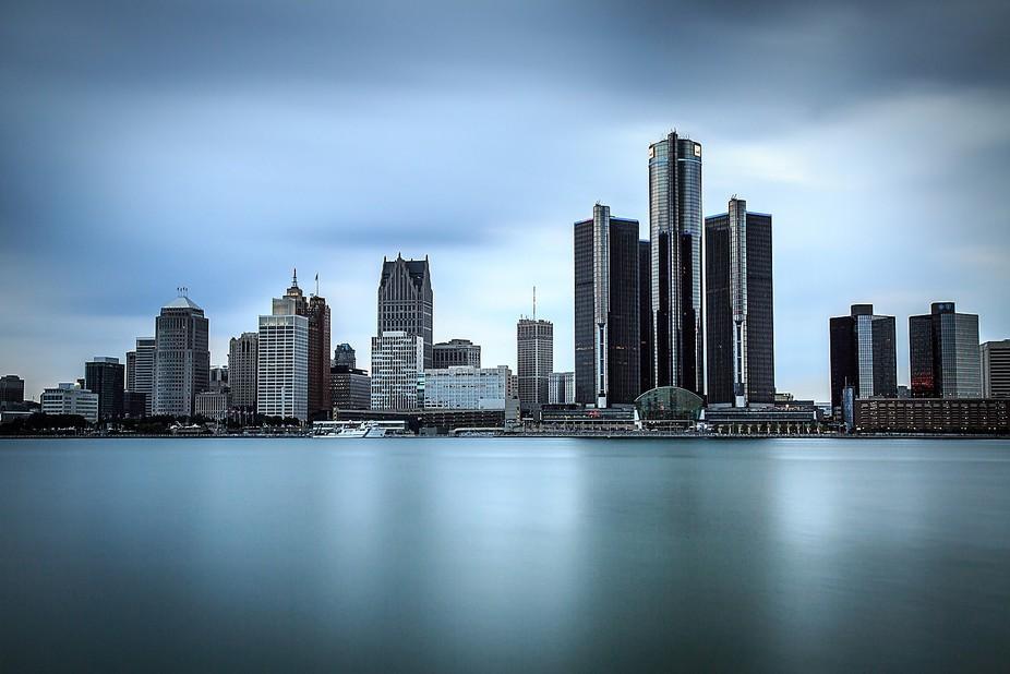Renaissance Center Detroit shot from Windsor River, Ontario, Canada
