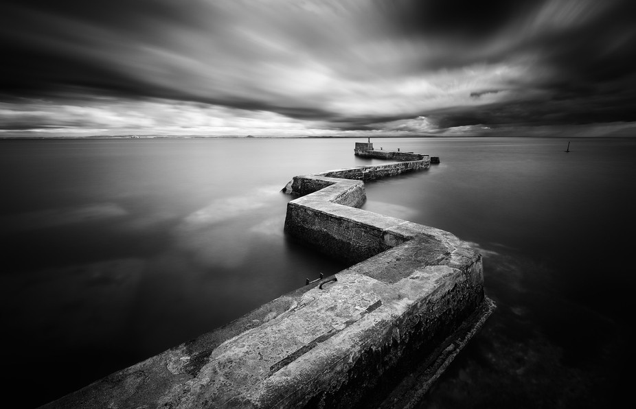 Long exposure at St Monans on the Fife coast, a large storm is heading in towards the small fishi...
