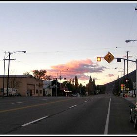 """Rush Hour in Big Pine"" or ""A Lonely Car On A LOnely Street."" Taken around 6:00am, the morning rush hour, on highway 395 in t..."