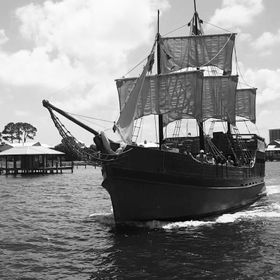 Sailing by a pirate ship in the bay of Perdido was definitely an eye catcher.
