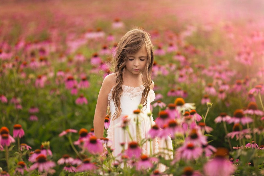 My beautiful girl loved playing in these pink flowers while I snapped some photos.