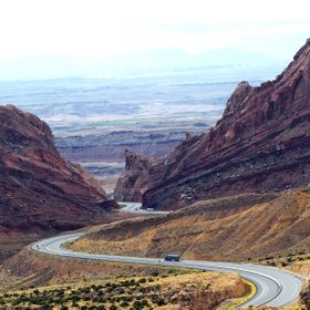 I-70 leaving Utah and heading into Colorado through Spotted Wolf Canyon.