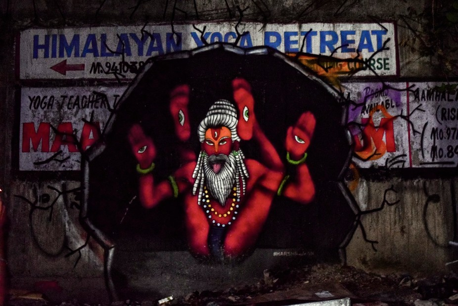 This photograph was taken on a trip to Haridwar , waking along the lanes was different wall arts ...