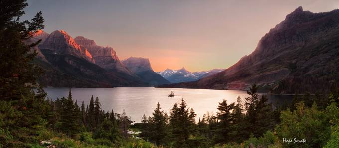Sunset over St. Mary's Lake by HopeCharmaine - Monthly Pro Vol 24 Photo Contest