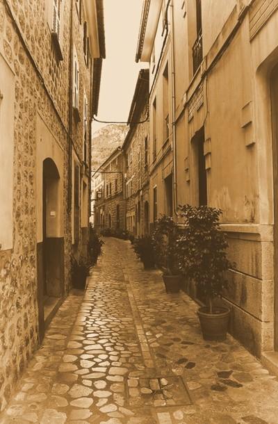 Quaint street in Soller Mallorca