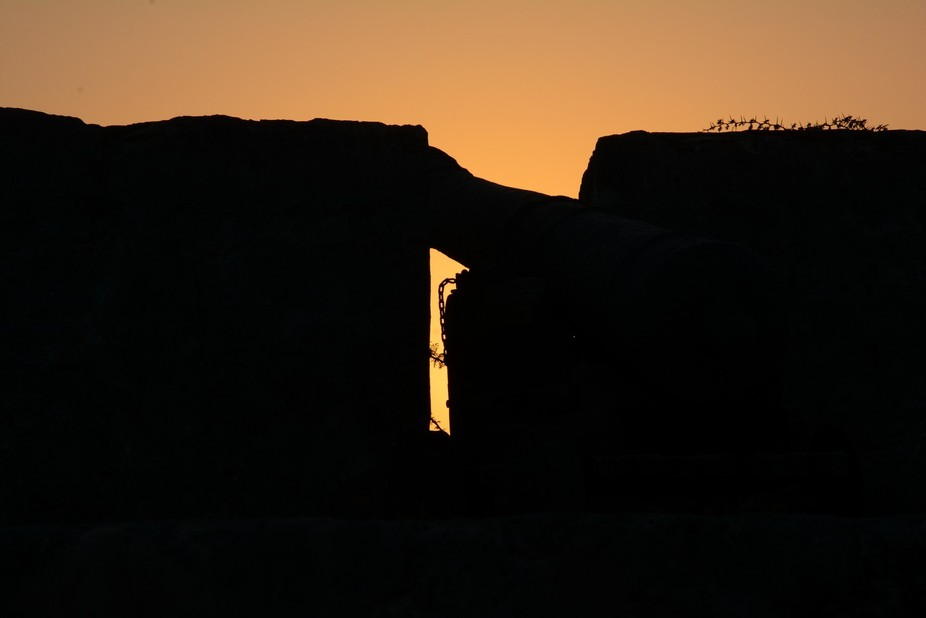 Silhouette of a cannon