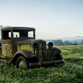 Mount Rainier in the background watching over this old truck near Enumclaw, WA