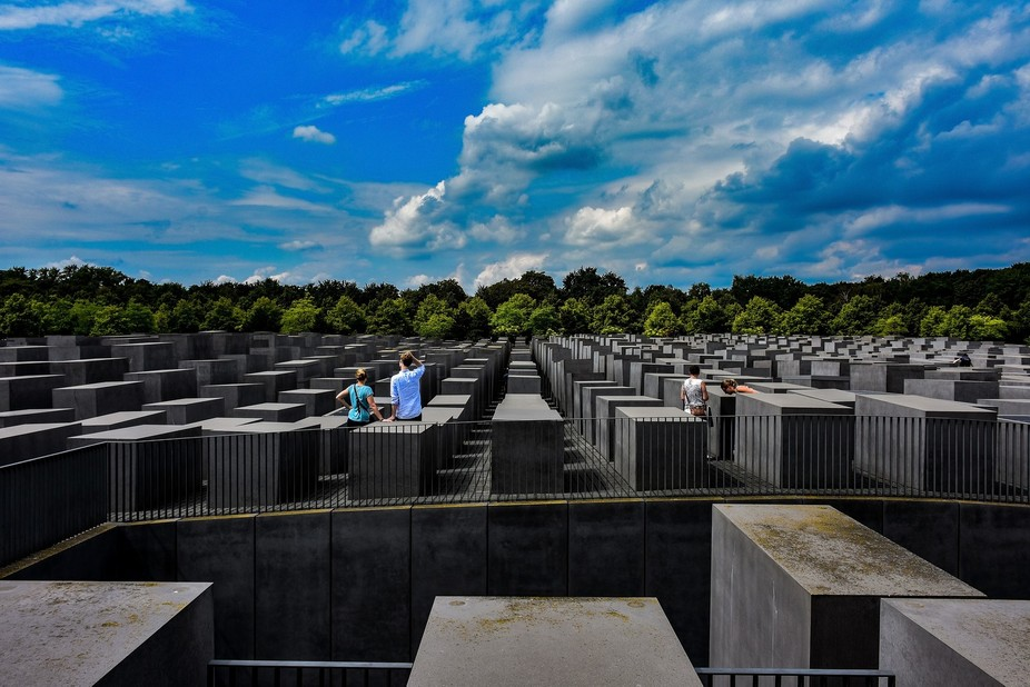 While exploring the city of Berlin we stopped by the Jewish Holocaust Memorial. Of the many pictu...