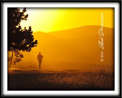 Sunrise jogger at  Lake Yellowstone