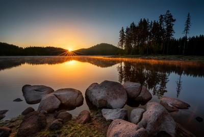 The first rays Shiroka Polyana dam