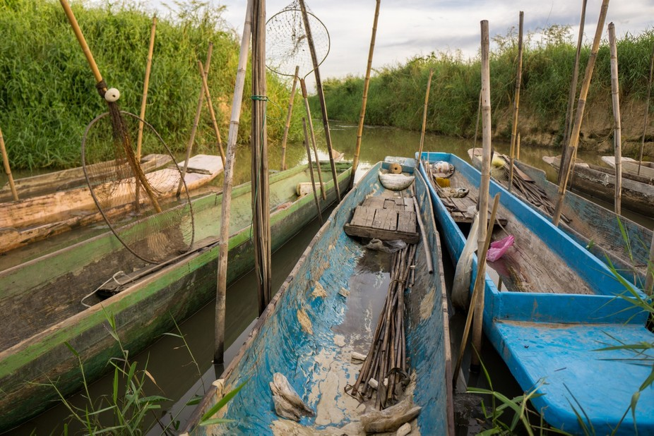 Fishing boats in river near Phayao, Thailand