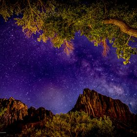 Milky Way over The Watchman at Zion National Park, Utah.