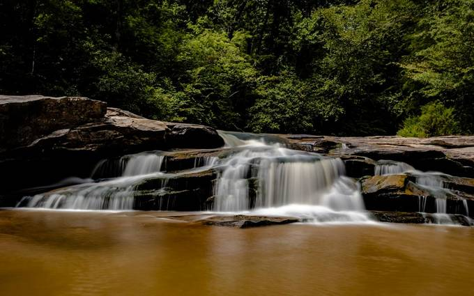 Horseshoe Falls near Clinton, South Carolina. This place is amazing water was nice and cool. I could spend hours watching the water go down over the rocks.