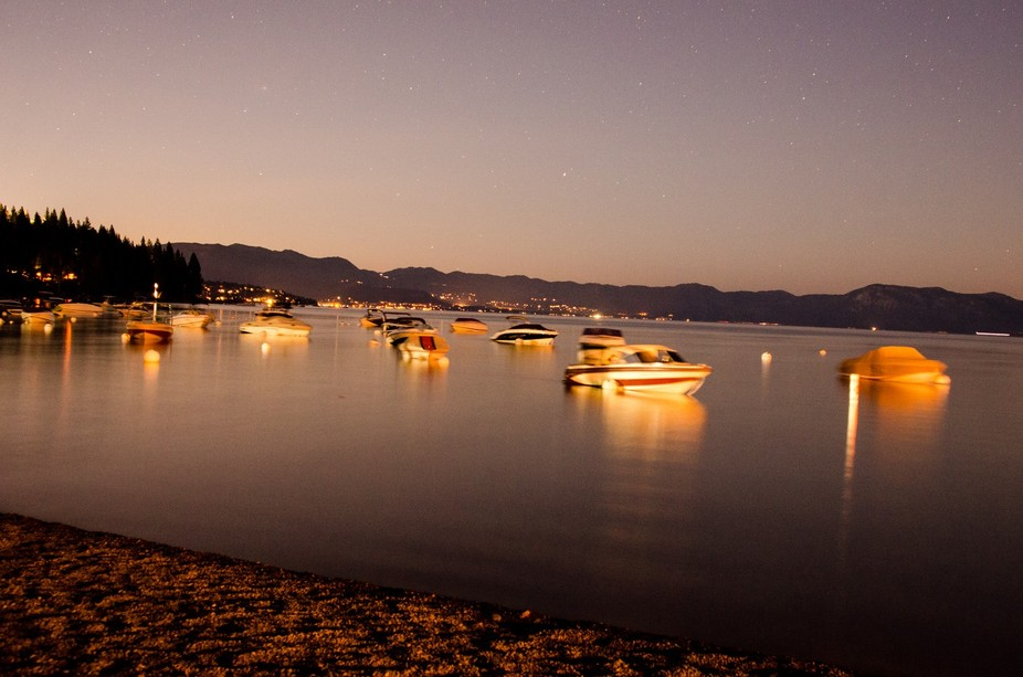 Shot at dusk shore of lake tahoe