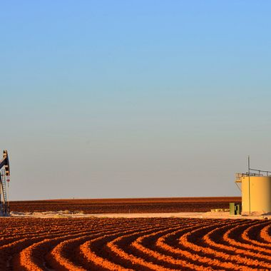 new gas wells on the red tilled soil of the Texas High Plains, Lamesa, TX