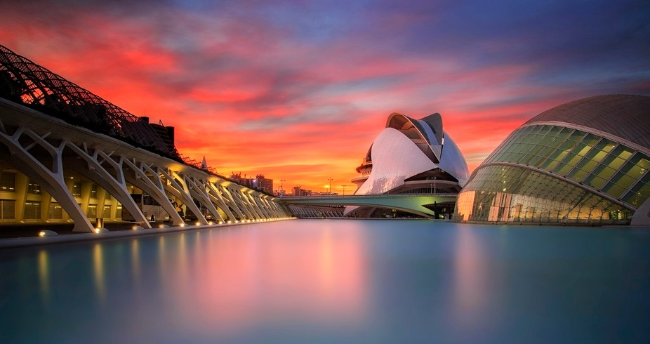 Sunset at Valencia, at the famous City of Arts and Sciences designed by Calatrava.