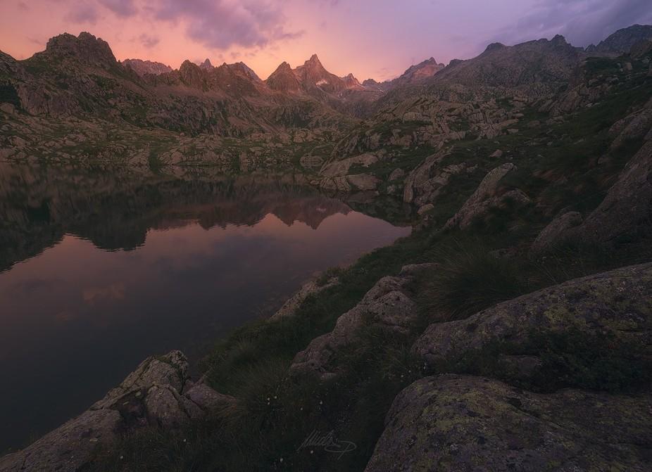 A beautiful stormy sunrise on the italian Dolomites.