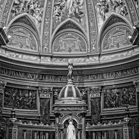Image taken during Mass at Saint Stephen's Basilica, Budapest, Hungary. Vertical panorama stitched in lightroom, post processing work done u...